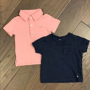 Pink polo and navy t-shirt